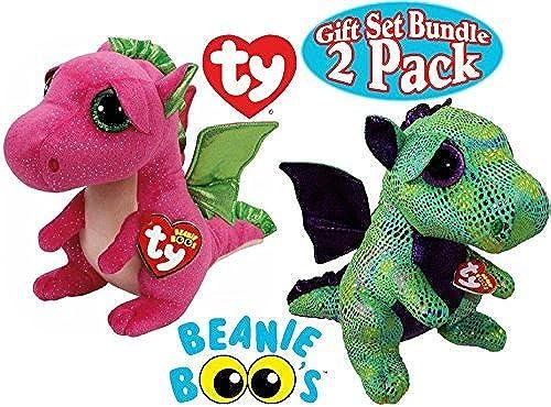 TY Beanie Boos Dragon Gift Set Bundle Featuring Cinder (Grün Dragon) & Darla (Rosa Dragon) - by Ty Beanie Boos
