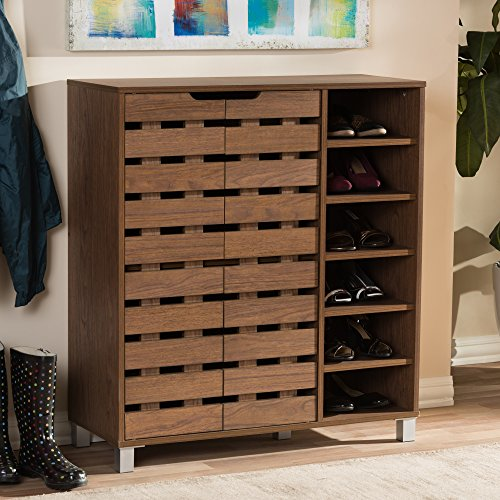 Baxton Studio Eloise Modern & Contemporary Beech Wood 2 Door Shoe Cabinet with Open Shelves, Walnut
