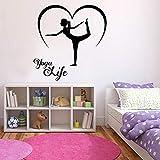 Yoga life tatuajes de pared poses deportes gimnasio gimnasio decoración de interiores amor puertas y ventanas pegatinas de vinilo habitación de niñas papel tapiz de arte