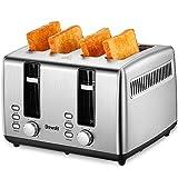 Grille-Pain Automatique, Brewsly Grille Pain Inox avec 4 Fentes Extra Larges, Toaster Multifonctionnel, Décongeler, Réchauffer et Annuler, 6 Niveaux de Brunissage, 1700W