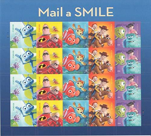 USPS Forever Stamps Disney Pixar Mail a Smile - Sheet of 20 Stamps