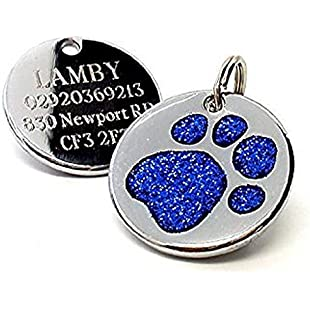 Personalised Engraved 25mm Glitter Blue Paw Print Dog Pet ID Tag Disc.......TO LEAVE ENGRAVING DETAILS PLEASE READ PRODUCT DESCRIPTION LOWER DOWN THIS PAGE.:Isfreetorrent