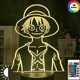 KangYD Luz de noche 3D One Monkey D Luffy, lámpara de ilusión óptica LED, C - Touch Crack Blanco (7 colores), LED táctil, Lámpara de decoración