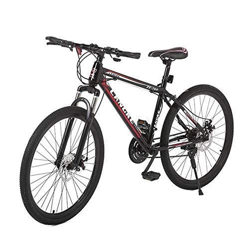 Llpeng Masculino y Femenino de 26 Pulgadas de 21 velocidades con Amortiguador de Aluminio de la Bici de montaña de la aleación, Negro-Rojo