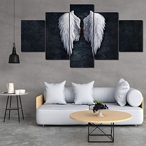 YTDZ Painting 5 Piezas Cuadro sobre Lienzo Imagen Alas de Angel Blanco y Negro 200x100cm Impresión Pinturas Murales Decor Dibujo Fotografía para Tu Salón o Dormitorio