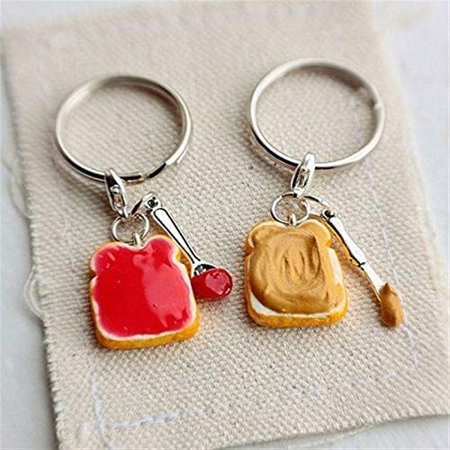 Hzwlsd Keychain Cute Peanut Butter and Strawberry Jelly Keychains Set, Best Friend's Keychains,Food Lover Gift