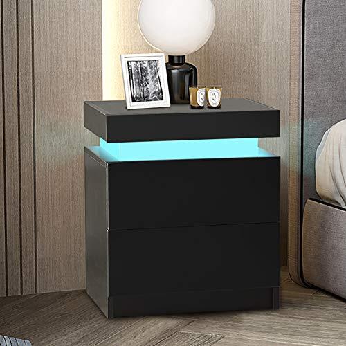 TUKAILAI Sängbord med LED-ljus, 2 lådor och högglansig byrå nattduksbord sängbord bord för sovrum vardagsrum svart