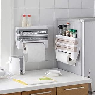 Womdee Cling Film Holder, Multifunctional Kitchen Cling Film Sauce Bottle Storage Rack with Cutter Foil Rack Towel Kitchen Paper Spice Bottles Towel Holder Rack for Home Kitchen Tool Bathroom Decor
