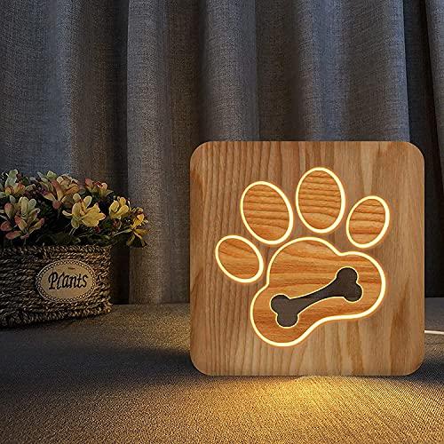 G-teeth Lámpara de Mesa de Pata de Perro Creativa Decoración de la habitación, luz de Noche de Hueso 3D, USB- Patrón de Talla de Madera DIRIGIÓ Lámpara de Noche para niños, Mejor Regalo para niños