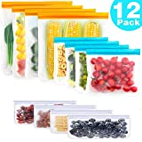 12 Pack Reusable Sandwich & Snack Bags Extra-Thick Reusable Food Storage Bags Freezer