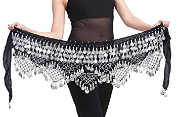 Aivtalk Women Belly Dance Wrap Gypsy Skirts with Coins Sequins Hip Scarf Black & Silver