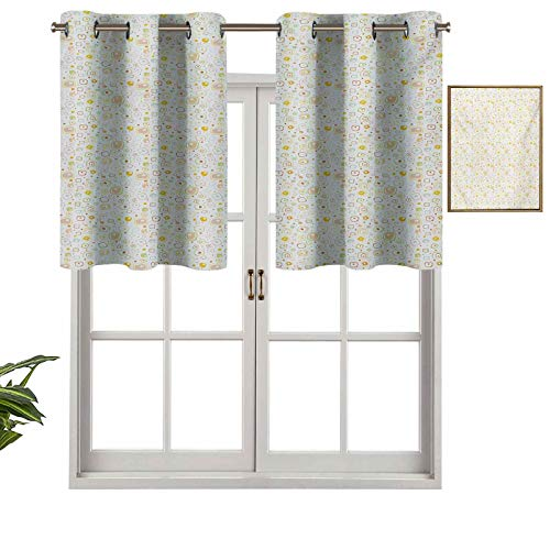Hiiiman Insulated Thermal 100% Blackout Curtains Valance Harmonious Geometric Squares and Dots with Soft Color Palette Vintage Inspired, Set of 1, 54'x18' for Bedroom with Grommets
