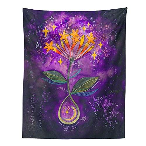 KHKJ Tapiz psicodélico Cielo Estrellado Flor Planta decoración de Pared tapices Hippie decoración Boho decoración del hogar Mural A10 200x150cm