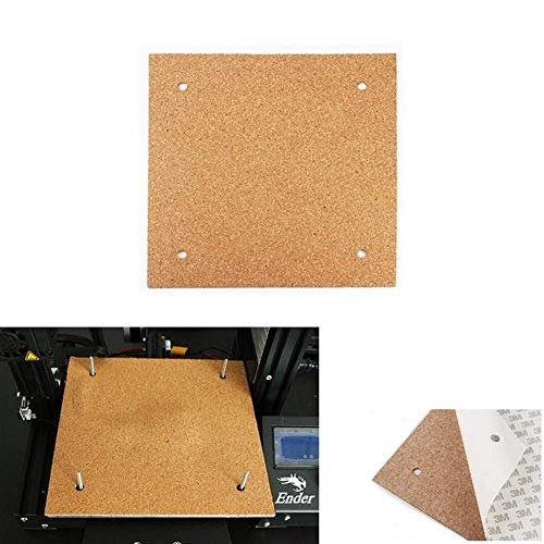 3D Printer Parts, Heated Bed 235 * 235 * 3mm Hotbed Thermal Heating Pad Insulation Cotton with Cork Glue for Ender-3 3D Printer Reprap Ultimaker Makerbot 3D Printer