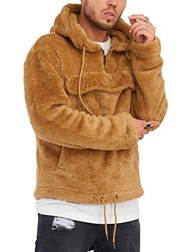 Rello & Reese Herren Teddy-Fell Hoodie mit Kapuze Fleece Pullover Fleecejacke Sweatjacke MT-7453 [Braun, XXL]