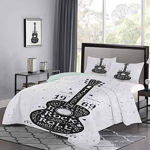 Juego de colcha de, instrumento de estilo dibujado a mano con aspecto grunge y diseño retro, tema de rock and roll, funda de edredón premium, transpirable y fresco durante toda la noche, negro, blanco