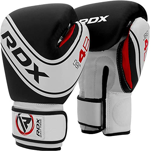 RDX Kids Boxing Gloves for Training & Muay Thai - Maya Hide Leather Junior 4oz, 6oz Mitts for Sparring, Fighting & Kickboxing - Good for Youth Punch Bag, Black, 4 oz
