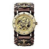 Reloj mecánico automático de línea Esqueleto Antiguo para Hombre Reloj Retro Reloj automático Cuerda marrón Reloj Hombre