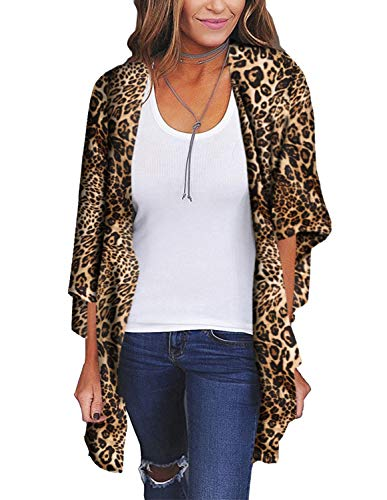 Womens Leopard Cardigans 3/4 Sleeve Boho Chiffon Casual Cover up XL