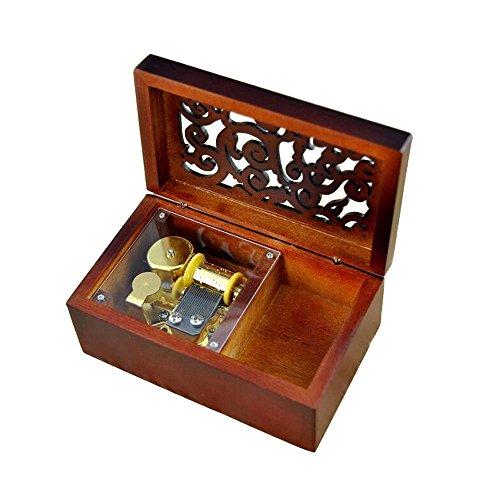 Antik Gravur Holz Aufzieh Spieluhr, Lilium aus lila Elfen gelogen, Spieluhr, mit Vergoldung Bewegung in, Rechteck
