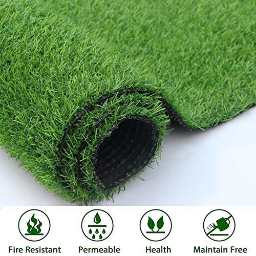 Artificial Grass Outdoor Turf Rug Mat - 6.5x32.8FT Fake Grass Carpet Lawn Landscape, 0.98 inch Pile Height