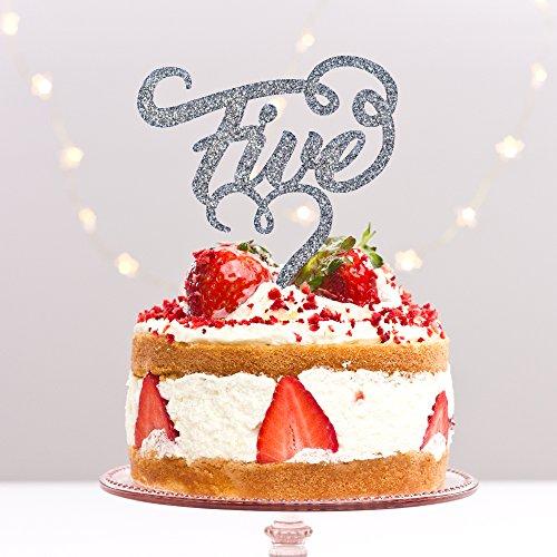 Directly Personalised 5 Cinq cinquième 5ème Anniversaire de fête d'anniversaire de Bois Anniversaire de Mariage Acrylique gâteau