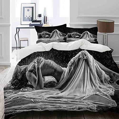 MIGAGA Bettwäsche-Set, Mikrofaser,Nackte Frau im Regen mit weißem und schwarzem Hintergrund,1 Bettbezug 135 x 200cm+ 2 Kopfkissenbezug 80x80cm
