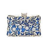 Kentop Bolso de noche para mujer, elegante bolso de mano con cadena, para boda, fiesta, baile (azul)