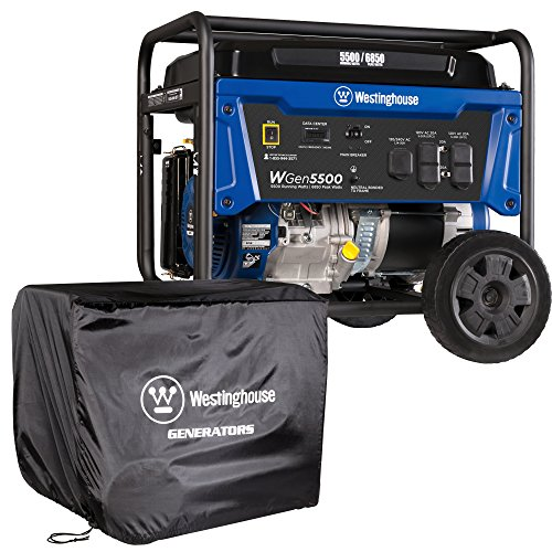 Westinghouse WGen5500 Portable Generator with Cover - 5500 Rated Watts & 6850 Peak Watts - Gas...