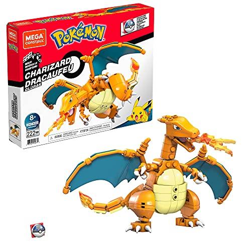 Mega Construx GWY77 - Pokémon Glurak-Figur, Bauset mit 222 Teilen, beweglich, ca. 10 cm, für Kinder ab 8+ Jahren