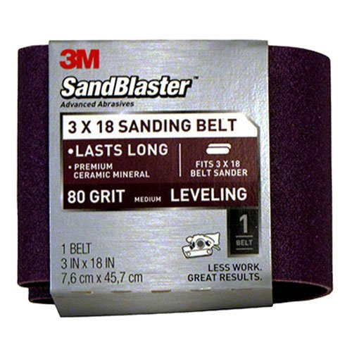 3M SandBlaster 9189NA 3-Inch by 18-Inch 80-Grit Bare Surfaces Power Sanding Belt