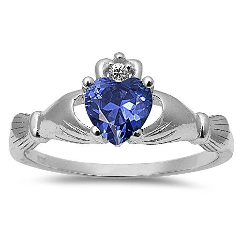 Oxford Diamond Co Simulated Tanzanite Irish Claddagh Heart Cubic Zirconia Ring .925 Sterling Silver Ring Size 7