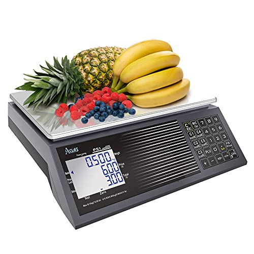 ACLAS Digital Price Computing Scale NTEP Certified Legal for Trade 30lbs 0.01lb Commercial Retail Scales w/ LCD Dual Screen Displays for Food, Meat, Deli, Fruit Market Dry Cell Battery Powered