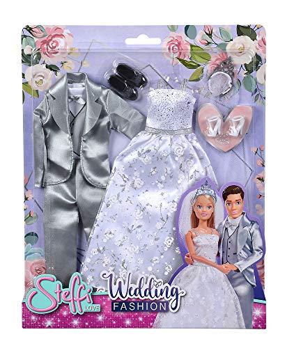 Simba Steffi Love Wedding Fashion / Romantisches Brautkleid und Hochzeitsanzug / inkl.Schuhe und Diadem / für 29cm und 30cm Ankleidepuppen / ohne Puppe / Für Kinder ab 3 Jahren
