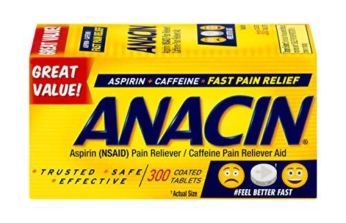 Anacin Aspirin/Caffeine Pain Reliever Aid   Fast Pain Relief   300 Tablets