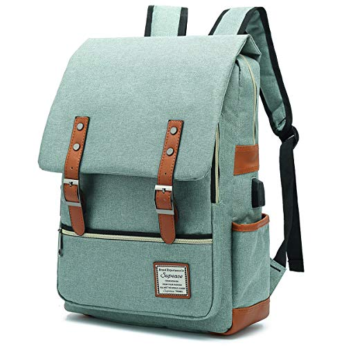 SUPEASE Vintage Slim College School Laptop Backpack with USB Charging Port for Women Men , Green