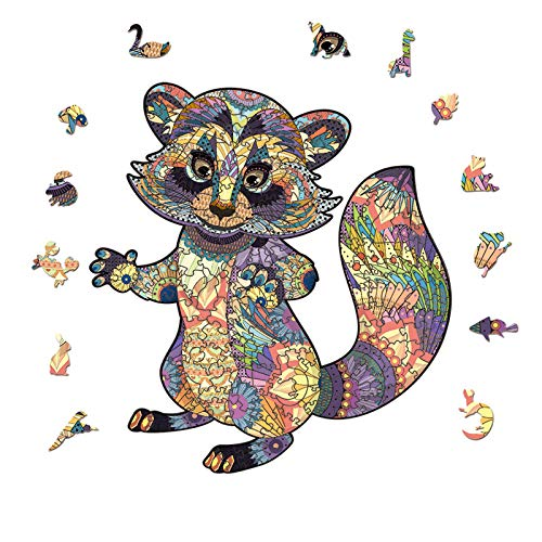 Wooden Jigsaw Puzzle Raccoon 3D Puzzle Irregular Animal Shape Jigsaw Puzzles Pieces Suitable for Adults Teenagers Kids Unique Puzzle Perfect Match Imagination Gift Toys