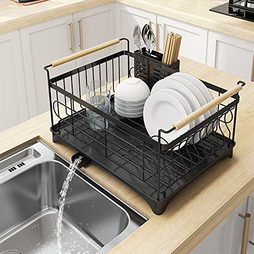 Myz ドリップトレイ付き高級食器洗い機、ステンレススチール、シンクトレイ乾燥ラックブラックトレイドレンラックキッチンストレージアーティファクトホームシングルレイヤー2レイヤーサプライディッシュラック