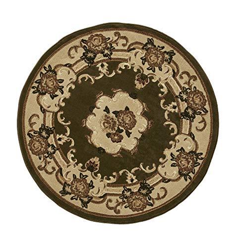 Think Rugs Marrakesch Teppich, traditionelles Blumenmuster, maschinengefertigt, 100% Polypropylen, groß, 140 cm, rund, Hellgrün