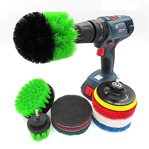 Power Scrubber Convenient 10Piece Drill Brush Attachments Set Scrub Pads & Sponge Power Scrubber Brush All Purpose Clean for Grout Tiles Sinks Cleaning Utensils