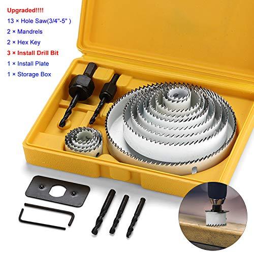 EXLECO 21 Stück Lochsäge-Set aus Kohlenstoffstahl Schnittdurchmesser 19mm-127mm Weiß für Normales Holz Sperrholz Gipskartonplatte PVC und Kunststoffplatte mit Dorn Inbusschlüssel und Montageplatte