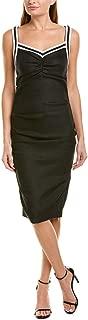 Womens Linen-Blend Sheath Dress, 4 Black