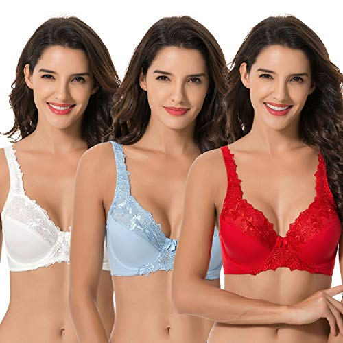 Curve Muse Plus Size Minimizer Underwire Unlined Bra with Embroidery Lace-3Pack-IVORY,RED,LT BLUE-46DDDD