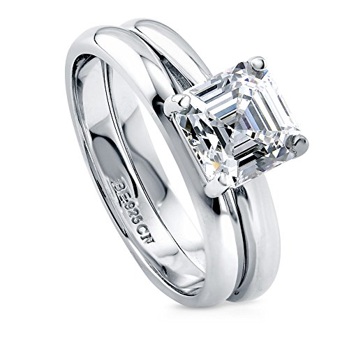 BERRICLE Rhodium Plated Sterling Silver Asscher Cut Cubic Zirconia CZ Solitaire Wedding Engagement Ring Set 2 CTW Size 7