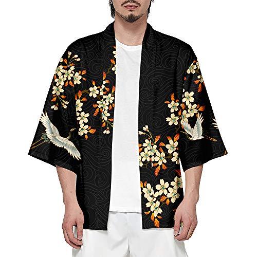 CIZEUR T-Shirt Uomo Cardigan Unisex Elegante Stampato Floreale Maglietta con Tasche Kimono Giapponese Casual Moda Primavera-Estate,SuncraneXL