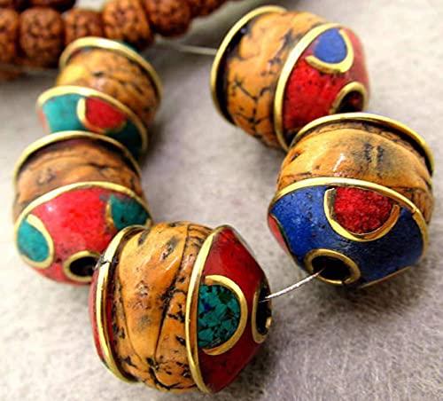 JONJUMP Bodhi Natural 15-17mm Nepal Mano Metal Capped Phoenix Eye Bodhi Perlas Sueltas Nepal Tibet DIY 5 cuentas/lote