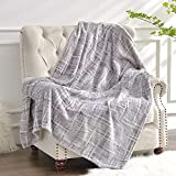 Luxury Flannel Fleece Throw Blanket, 400gsm Jacquard Weave Soft Plush Velvet Fluffy Blanket for All Seasons, Lightweight Cozy Warm Comfy Bed Couch Car Office Throw Grey, 50x60 inches