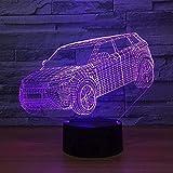 Lámpara de noche LED 3D grande para coche, 7 colores, para niños, táctil, USB, lámpara de mesa, lámpara de noche para bebés