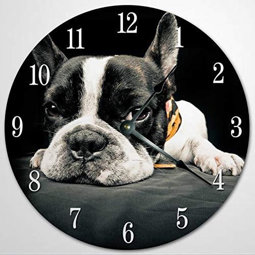Dog Breed Clocks Boston Terrier Clock German Shepherd Siberian Husky Black Schnauzer Doberman Pinscher French Bulldog Golden Retriever Decor 12 Inch Wooden Wall Clock, Battery Operated, Farmhouse Wal