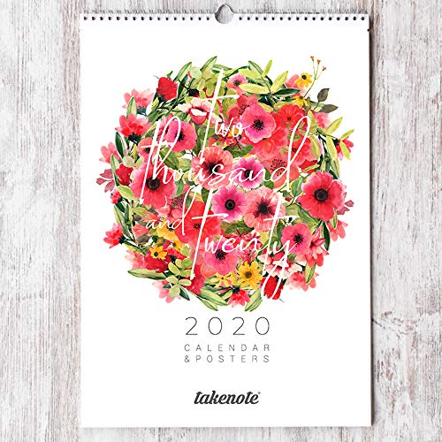 Calendario Takenote Flores - Calendario Pared 2020-30 x 42 (Tamaño A3)